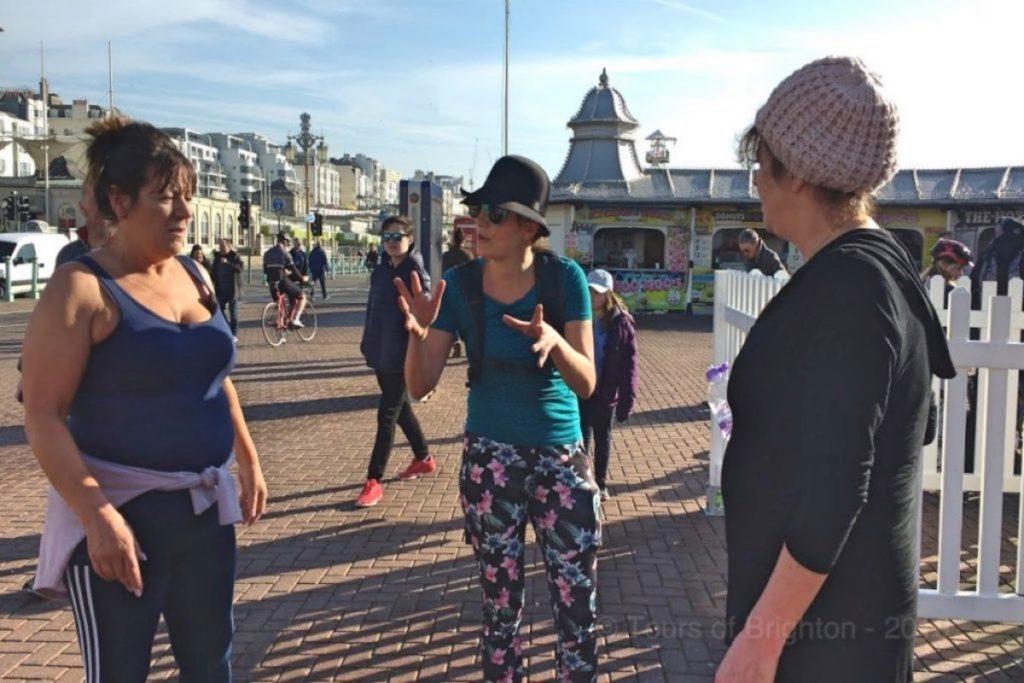 Rancing Brighton. Briefing guests.