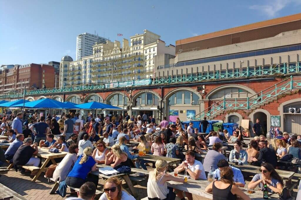 Food and drink scene in Brighton UK on a sunny day