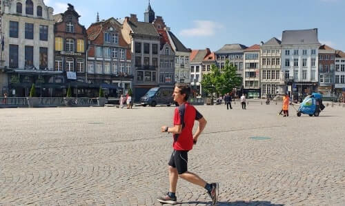 Passing by the Main Square (Grote Markt) on your running tour in Mechelen